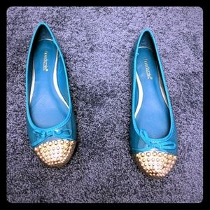 ShoeDazzle ballet flats teal new shiny 8